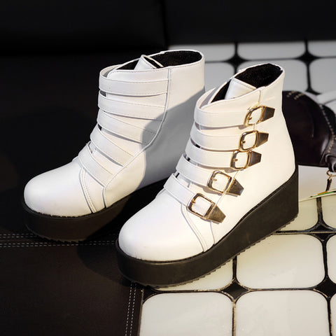 PU Pure Color Buckle Round Toe Platform Hidden Heel Ankle Boots 43 White