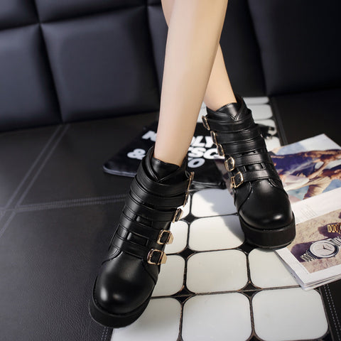 PU Pure Color Buckle Round Toe Platform Hidden Heel Ankle Boots 41 Black