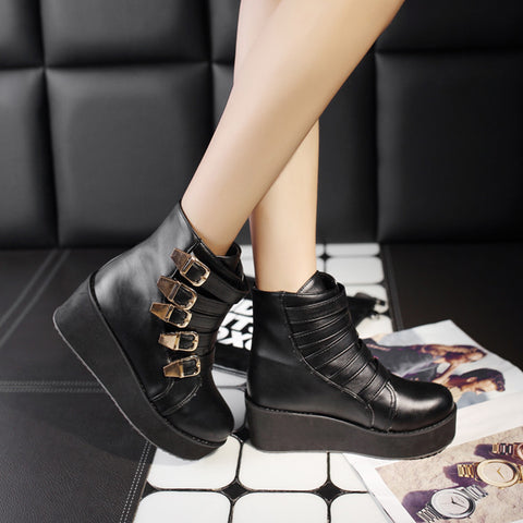 PU Pure Color Buckle Round Toe Platform Hidden Heel Ankle Boots 42 Black