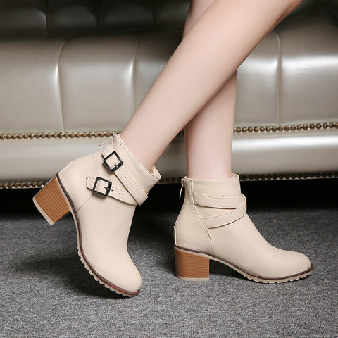 PU Pure Color Cross Buckle Round Toe Middle High Block Heel Short Boots 42 Beige