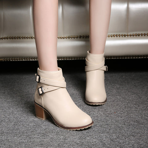 PU Pure Color Cross Buckle Round Toe Middle High Block Heel Short Boots 41 Beige