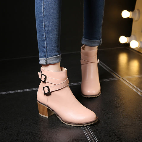 PU Pure Color Cross Buckle Round Toe Middle High Block Heel Short Boots 41 Pink