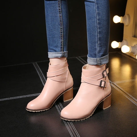 PU Pure Color Cross Buckle Round Toe Middle High Block Heel Short Boots 42 Pink