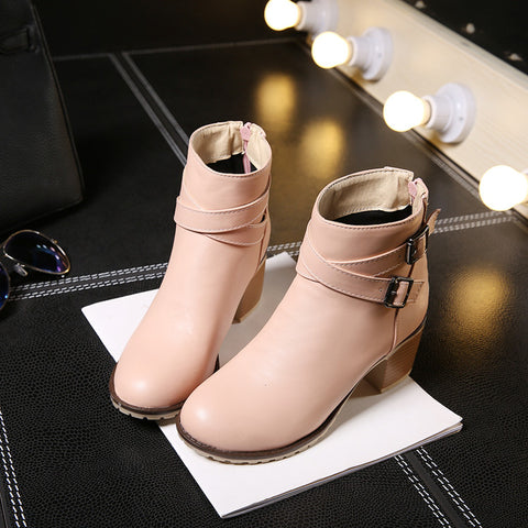 PU Pure Color Cross Buckle Round Toe Middle High Block Heel Short Boots 43 Pink