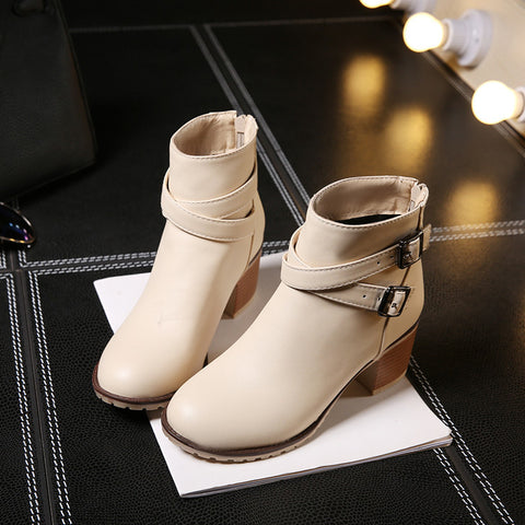 PU Pure Color Cross Buckle Round Toe Middle High Block Heel Short Boots 43 Beige
