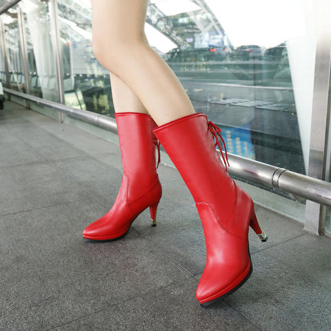 PU Pure Color Pointed Toe High Stilletto Heel Back Strap Mid-caf Boots 43 Red