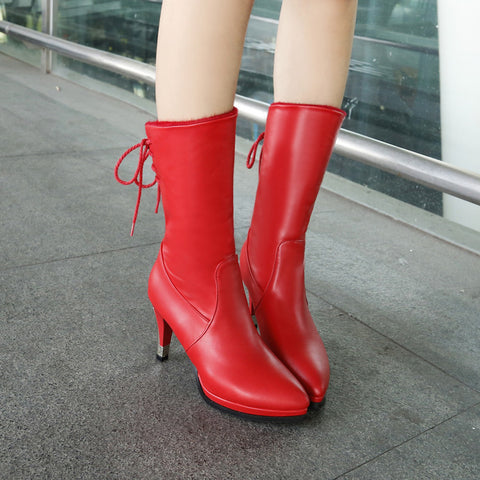 PU Pure Color Pointed Toe High Stilletto Heel Back Strap Mid-caf Boots 41 Red