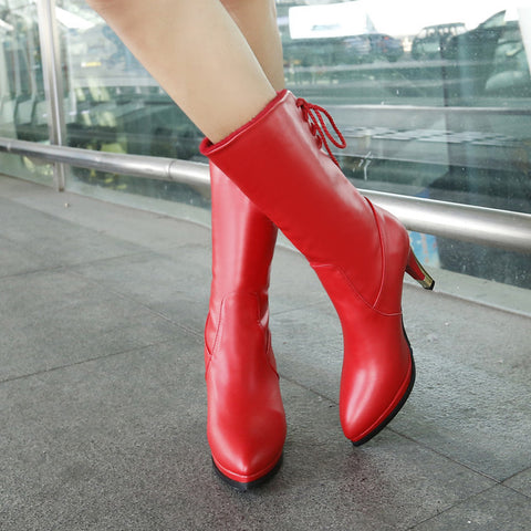 PU Pure Color Pointed Toe High Stilletto Heel Back Strap Mid-caf Boots 40 Red