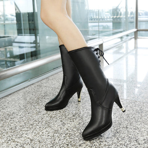 PU Pure Color Pointed Toe High Stilletto Heel Back Strap Mid-caf Boots 43 Black