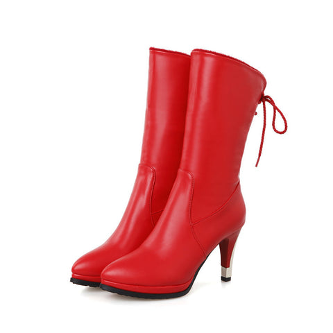 PU Pure Color Pointed Toe High Stilletto Heel Back Strap Mid-caf Boots 42 Red