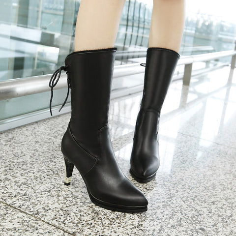 PU Pure Color Pointed Toe High Stilletto Heel Back Strap Mid-caf Boots 40 Black