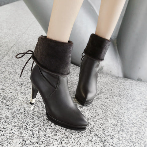 PU Pure Color Pointed Toe High Stilletto Heel Back Strap Mid-caf Boots 41 Black