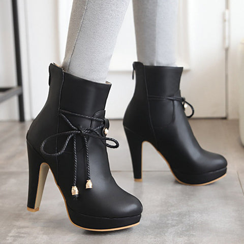 PU Pure Color Pointed Toe High Stilletto Heel Back Zipper Short Boots 43 Black