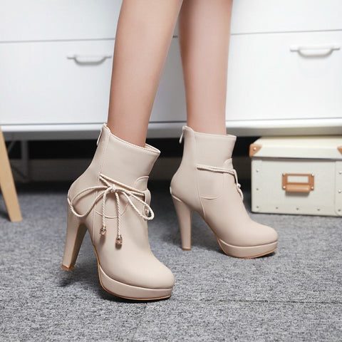 PU Pure Color Pointed Toe High Stilletto Heel Back Zipper Short Boots 40 Apricot