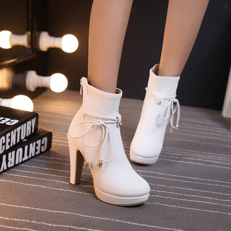 PU Pure Color Pointed Toe High Stilletto Heel Back Zipper Short Boots 43 White