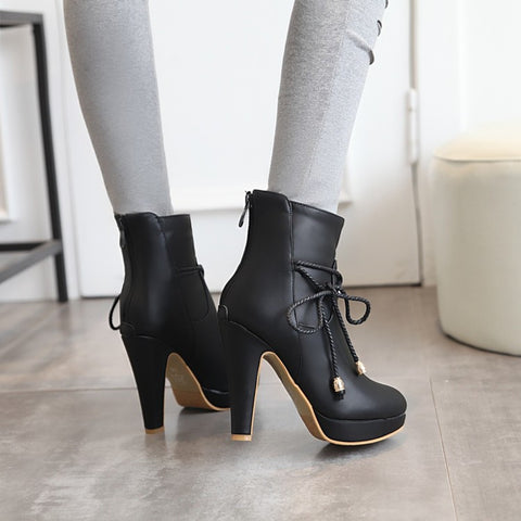 PU Pure Color Pointed Toe High Stilletto Heel Back Zipper Short Boots 41 Black