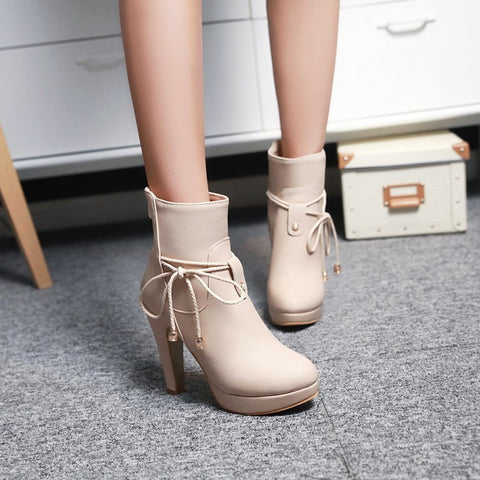 PU Pure Color Pointed Toe High Stilletto Heel Back Zipper Short Boots 43 Apricot