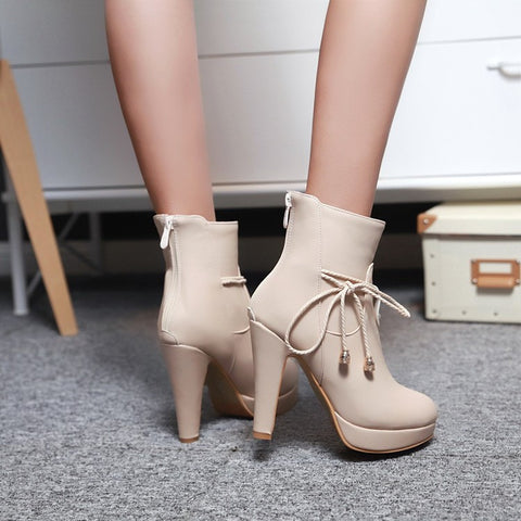 PU Pure Color Pointed Toe High Stilletto Heel Back Zipper Short Boots 41 Apricot