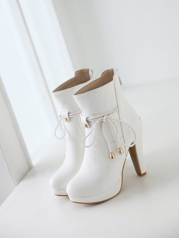 PU Pure Color Pointed Toe High Stilletto Heel Back Zipper Short Boots 42 White