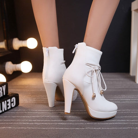 PU Pure Color Pointed Toe High Stilletto Heel Back Zipper Short Boots 41 White