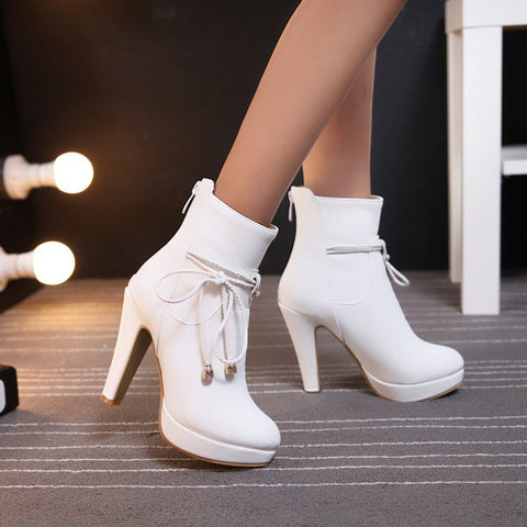 PU Pure Color Pointed Toe High Stilletto Heel Back Zipper Short Boots 40 White