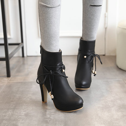 PU Pure Color Pointed Toe High Stilletto Heel Back Zipper Short Boots 40 Black