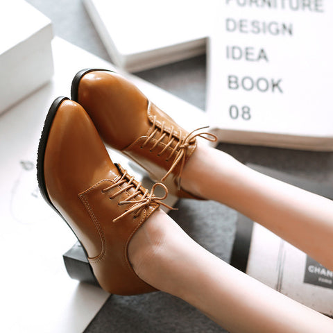 PU Pure Color Pointed Toe Low Block Heel Lace Up Oxfords 43 Brown