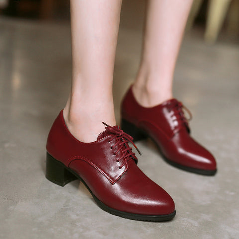 PU Pure Color Pointed Toe Low Block Heel Lace Up Oxfords 43 Red