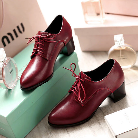PU Pure Color Pointed Toe Low Block Heel Lace Up Oxfords 42 Red