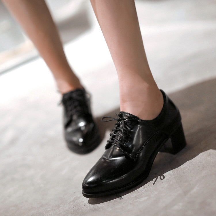 PU Pure Color Pointed Toe Low Block Heel Lace Up Oxfords 43 Black