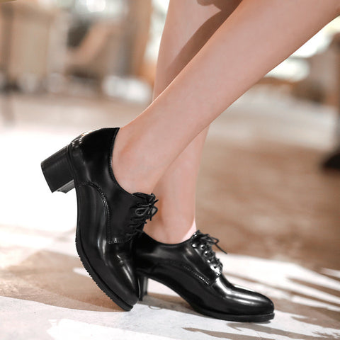 PU Pure Color Pointed Toe Low Block Heel Lace Up Oxfords 41 Black
