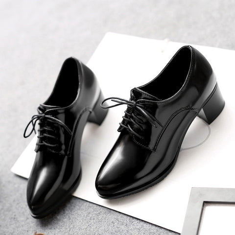 PU Pure Color Pointed Toe Low Block Heel Lace Up Oxfords 42 Black