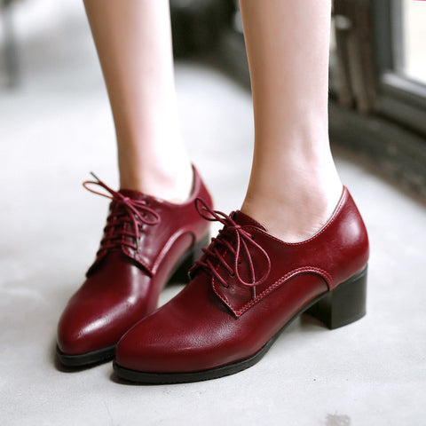 PU Pure Color Pointed Toe Low Block Heel Lace Up Oxfords 41 Red