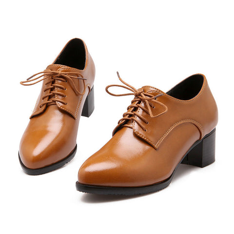 PU Pure Color Pointed Toe Low Block Heel Lace Up Oxfords 42 Brown