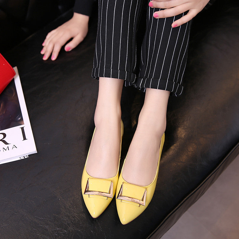PU Pure Color Pointed Toe Metal Decoration Flat Heel Court Shoes 8.5 Yellow