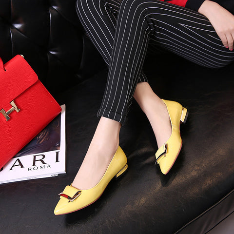 PU Pure Color Pointed Toe Metal Decoration Flat Heel Court Shoes 9 Yellow