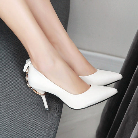 PU Pure Color Pointed Toe Stiletto Heel Back Bowtie Buckle Pumps 8 White