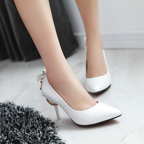 PU Pure Color Pointed Toe Stiletto Heel Back Bowtie Buckle Pumps 9.5 White