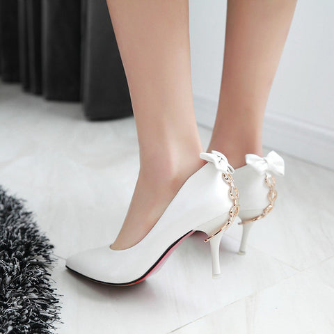 PU Pure Color Pointed Toe Stiletto Heel Back Bowtie Buckle Pumps 8.5 White