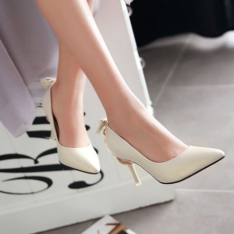 PU Pure Color Pointed Toe Stiletto Heel Back Bowtie Buckle Pumps 8 Beige