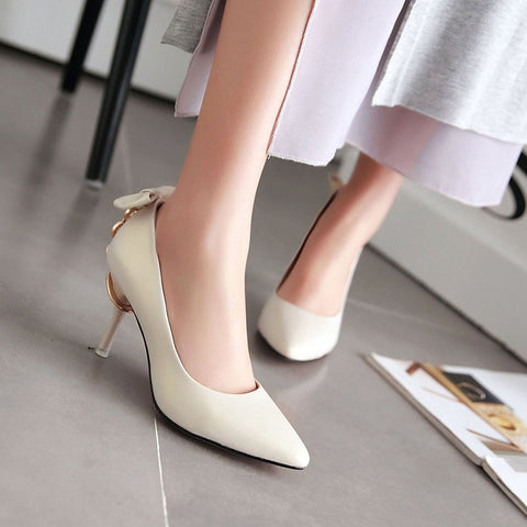 PU Pure Color Pointed Toe Stiletto Heel Back Bowtie Buckle Pumps 9.5 Beige