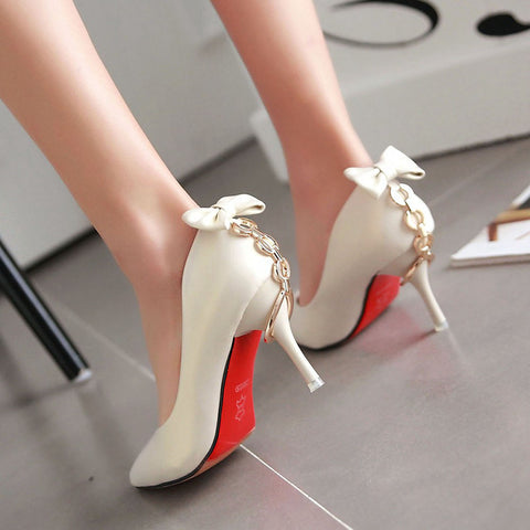 PU Pure Color Pointed Toe Stiletto Heel Back Bowtie Buckle Pumps 8.5 Beige