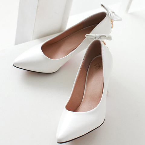 PU Pure Color Pointed Toe Stiletto Heel Back Bowtie Buckle Pumps 9 White