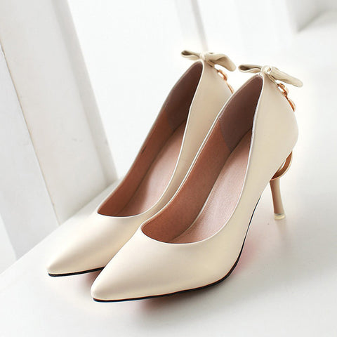 PU Pure Color Pointed Toe Stiletto Heel Back Bowtie Buckle Pumps 9 Beige