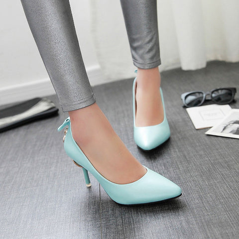 PU Pure Color Pointed Toe Stiletto Heel Back Bowtie Buckle Pumps 9.5 Blue