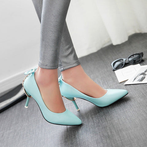 PU Pure Color Pointed Toe Stiletto Heel Back Bowtie Buckle Pumps 8 Blue