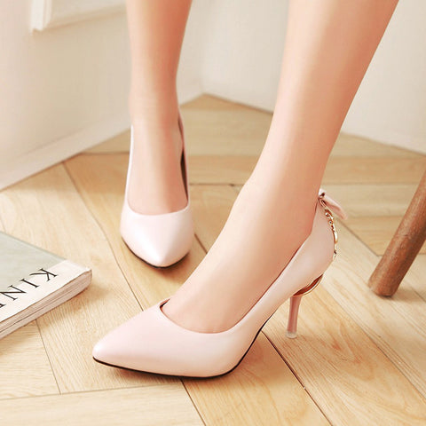 PU Pure Color Pointed Toe Stiletto Heel Back Bowtie Buckle Pumps 9.5 Pink