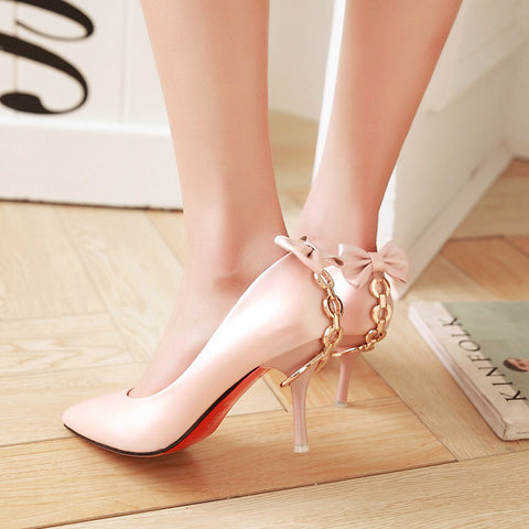 PU Pure Color Pointed Toe Stiletto Heel Back Bowtie Buckle Pumps 8 Pink