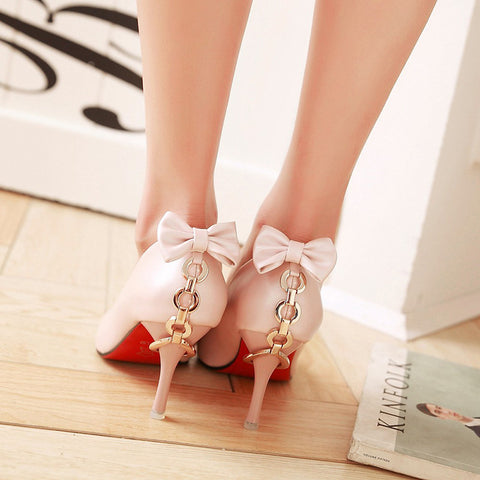PU Pure Color Pointed Toe Stiletto Heel Back Bowtie Buckle Pumps 8.5 Pink
