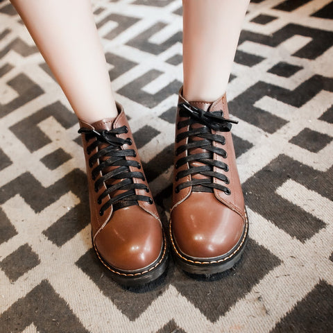 PU Pure Color Round Toe Flat Heel Lace Up Martin Boots 7.5 Brown